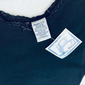 NWT 100% cotton Bobbi Brooks black tank lace neck
